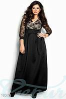 Платье для вечера. Большие размеры. Цвет черно-золотистый.