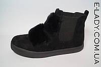 Черные ботиночки замшевые с натуральным кроликом