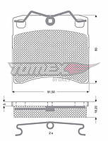Гальмівні колодки передні без датчика (LUCAS,R15, вент. диск, 91.7х80х17.7mm) VW T4 90-03 10-64 TOMEX (Польща)