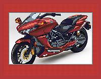 Схема для вышивки бисером POINT ART Красный мотоцикл, размер 28х22 см
