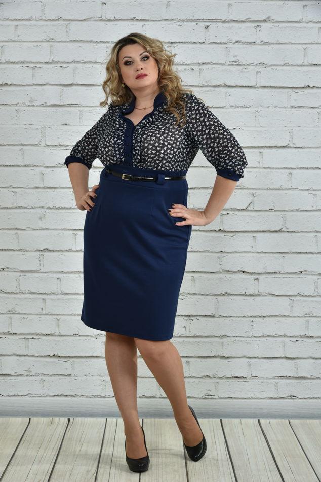 Платье для пышных дам 0321 синее