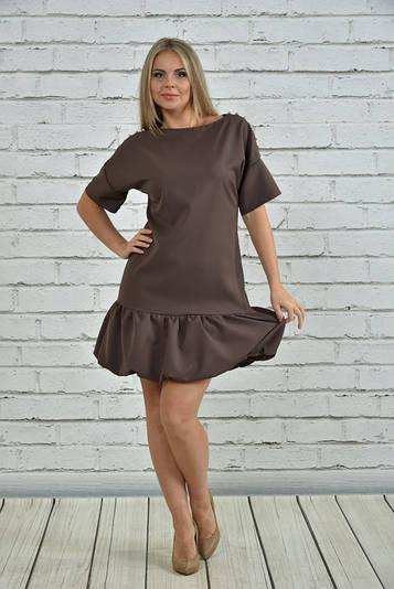 Молодежное платье большого размера 0354 капучино