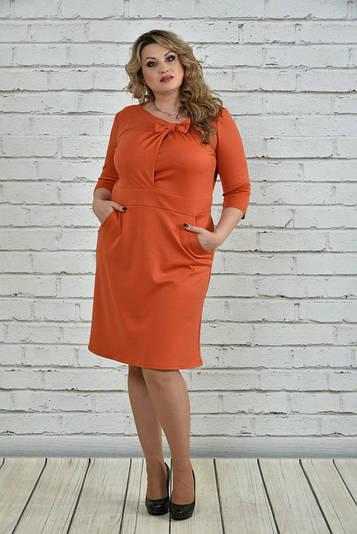 Платье больших размеров 0356 оранжевое