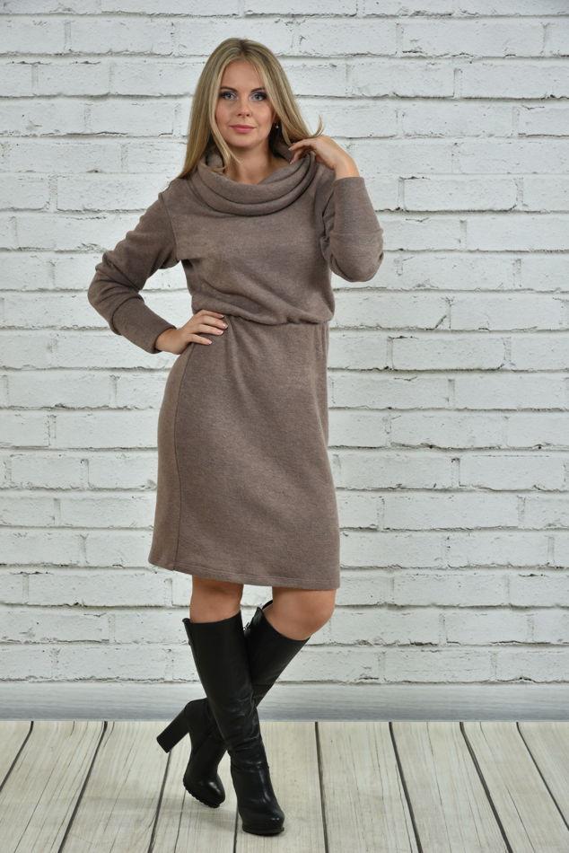 Зимнее платье больших размеров 0367 бежевое