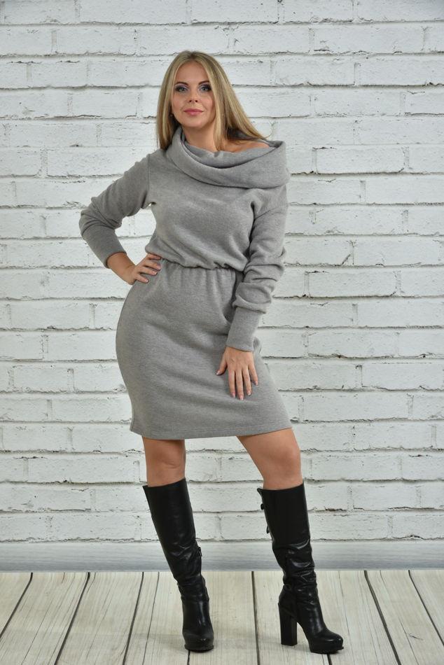 Зимнее платье больших размеров 0367 серое