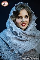 Оренбургский серый пуховый палантин Амалия