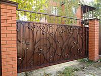 Купить откатные металлические ворота с художественной ковкой в Херсоне с покраской доставкой и монтажом