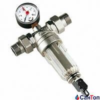 Фильтр Tiemme самопромывной с манометром для холодной воды 1/2 РН 100 мкр.