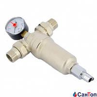 Фильтр Tiemme самопромывной с манометром для горячей воды 1/2 РН 100 мкр.
