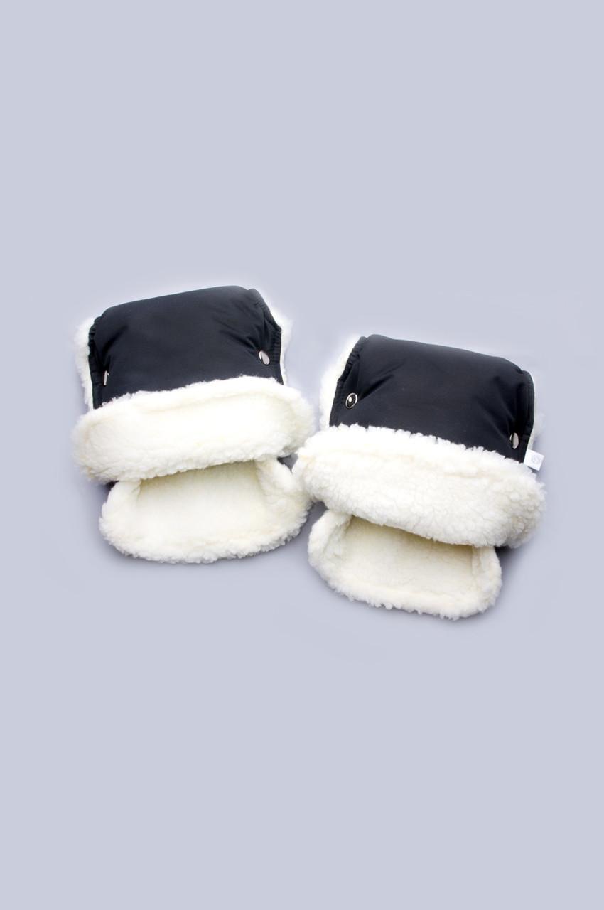 Муфта-рукавички на коляску и санки Черные