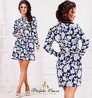 Женское джинсовое платье на пуговицах с принтом