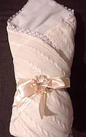 Детский зимний меховый конверт одеяло плед нв выписку для новорожденного Ажур