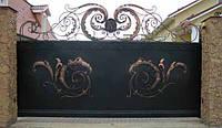 Откатные ворота с художественной ковкой заказать в Херсоне с покраской доставкой и монтажом