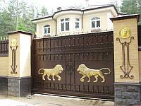 Производство откатных ворот с художественной ковкой в Херсоне с покраской доставкой и монтажом
