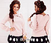 Трикотажная однотонная женская кофта с бантиком