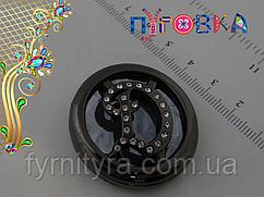 Шубная пуговица 38mm, black, №037