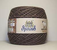 Нитки для вязания 100% шерсть мериноса 100г коричневого цвета
