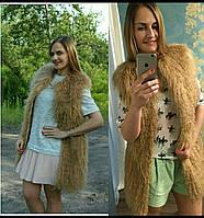 Жилет модный из натурального меха ламы, в наличие 46 размер