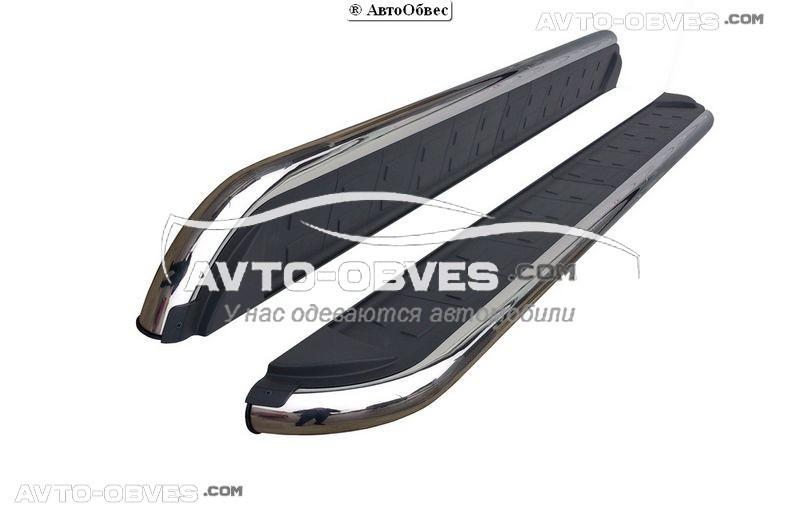 Штатные боковые подножки для Mitsubishi Outlander XL (в стиле Elegant)