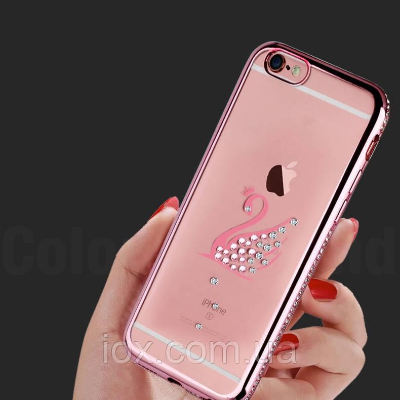 """Розовый силиконовый чехол Лебедь с камнями Сваровски для Iphone 6/6s (4.7"""") , фото 1"""
