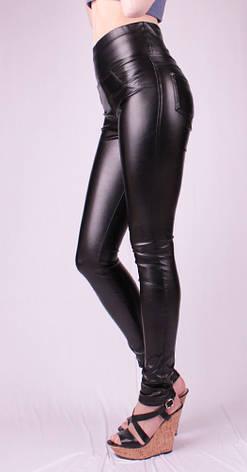 Женские леггинсы кожаные утяжка, черные, р.42-58, фото 2