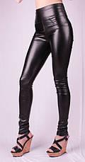 Женские леггинсы кожаные утяжка, черные, р.42-58, фото 3