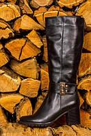 Женские кожаные сапоги на устойчивом каблуке, декорированы пряжкой