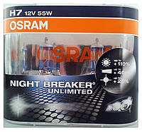 "Автомобильные галогенные лампы ""OSRAM"" (H7)(12V)(55W)(Night Breaker Unlimited)(+110%)"