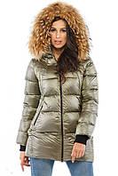 Модная зимняя куртка (рр 44-52) с натуральным мехом енота, разные цвета