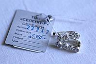Серебряные СЕРЬГИ дорожка  с белыми   цирконами  925 пробы