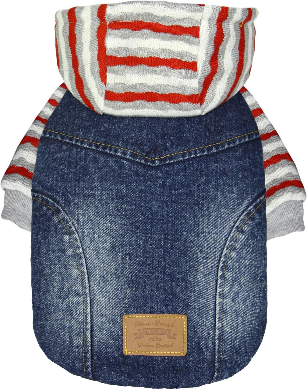 Куртка для животных Добаз, Dobaz Premium Denim красная полоска