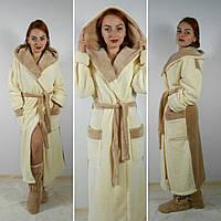 Махровый халат длинный с двойным  капюшоном