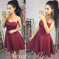 Платье короткое без бретелей с пышной юбкой неопрен 3 цвета SML850