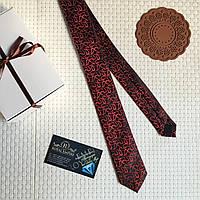 """Узкий галстук """"Дейли"""" черно-красный, в подарочной коробке. Галстук Ricardo Lazotti"""