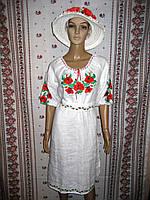 Лляна біла вишита сукня