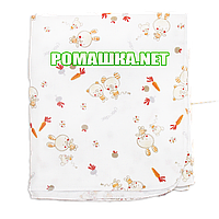 Белая детская фланелевая пелёнка 110х90 см (фланель, байковая, байка) теплая для пеленания 3262 Бежевый