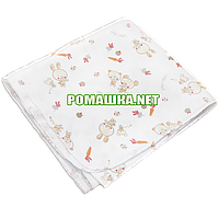 Белая детская ситцевая (ситец) пеленка 110х90 см с русунками для пеленания тонкая 3115-16 Бежевый