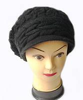 Кепка женская вязаная Анна шерсть натуральная цвет черный