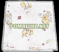 Белая детская ситцевая (ситец) пеленка 110х90 см с русунками для пеленания тонкая 3115-18 Бежевый