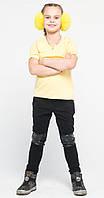 Штаны детские с кожей на коленях черные