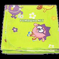 Детская ситцевая (ситец) пеленка 110х90 см с русунками для пеленания тонкая 3115-19 Зеленый