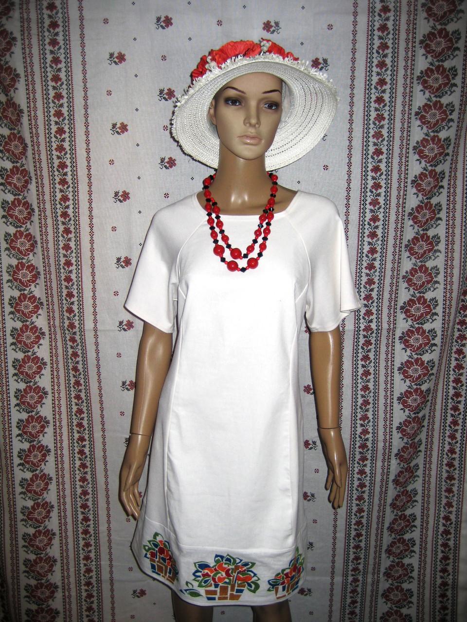 """Біла сукня із оригінальною вишивкою """"Кошики"""""""