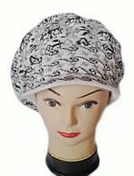 Кепка (берет с козырьком) женская вязаная Снежана шерсть с ангорой белого цвета, фото 1