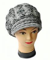 Берет с козырьком(кепка) женская вязаная Снежана шерсть натуральная цвет серый темный