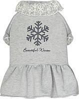 Платье для собак Dobaz Добаз, SNOW GIRL светло серый