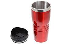 Термокружка металлическая (400 мл) с пластиковой  крышкой. Красная от 10 шт.