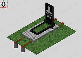 Памятник одинарный с установкой №1 + цветник