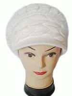 Кепка ( берет с козырьком ) женская вязаная Aнна шерсть с ангорой цвет белый, фото 1