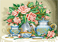 Схема для вышивки бисером Натюрморт с розами