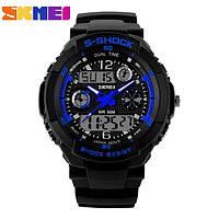 Водонепроницаемые, мужские часы Skmei S-Shock 0931 (blue/синие) - спортивные, ударостойкие